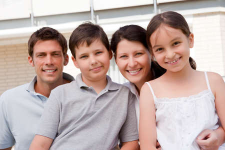 preteen boys: Portrait of beautiful young family together - Outdoor