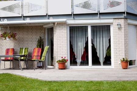 Image of beautiful front yard of a stylish new home photo