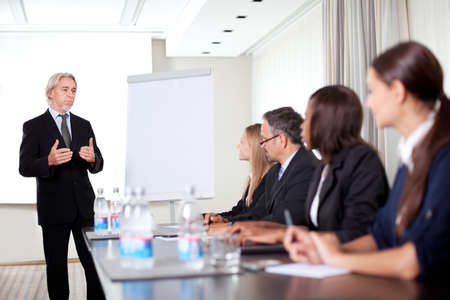 Mature male business executive training his associates during a meeting at office Stock Photo - 11079867