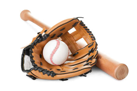 bat and ball: Leather glove with baseball and bat isolated over white background Stock Photo