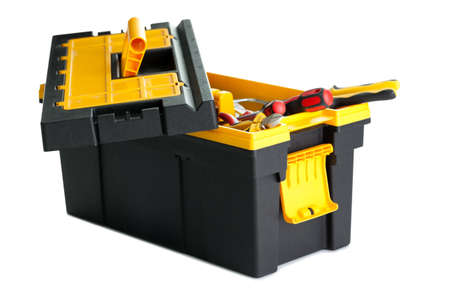 Image of open tool box with tools on white background photo