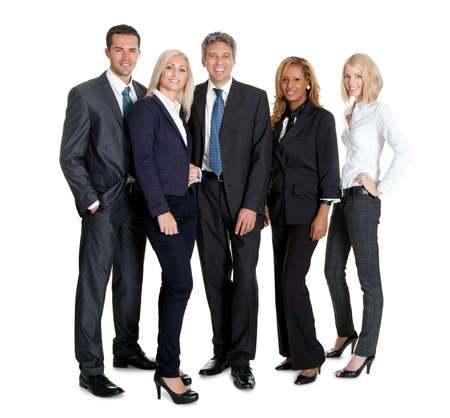 diverse group of people: Diverse group of business people confidently standing  together on white background Stock Photo