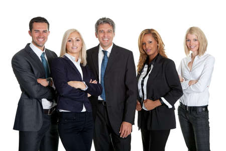 Diverse business team standing together isolated on white background photo