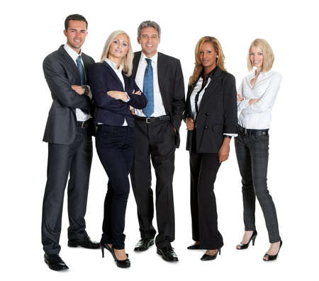 Group of successful business people standing together on white background photo