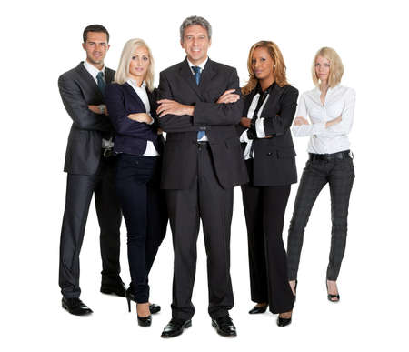 Portrait of a group of successful business people together on white background photo