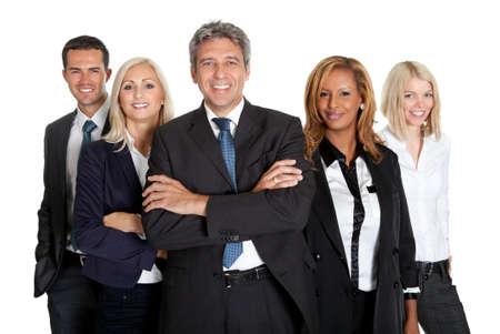Groupe d'assurance multi raciale des gens d'affaires debout contre un fond blanc