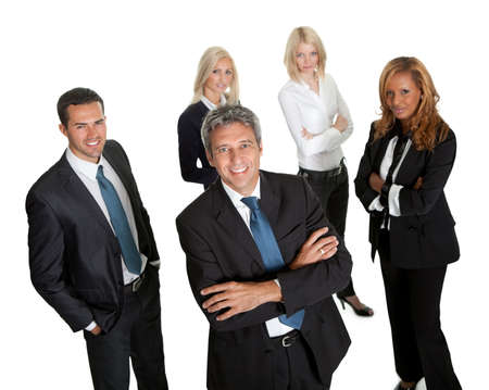 Confident business leader with his team in background on white photo