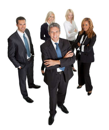 Successful businessman leading his team on white background Stock Photo - 11582318