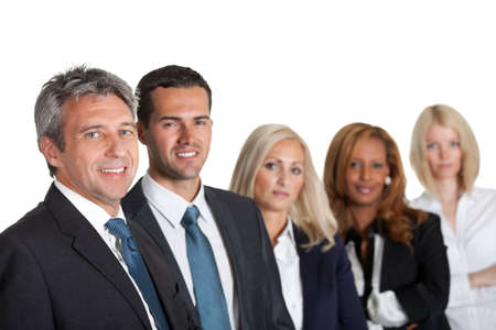 Portrait of a happy diverse business team in line on white background photo