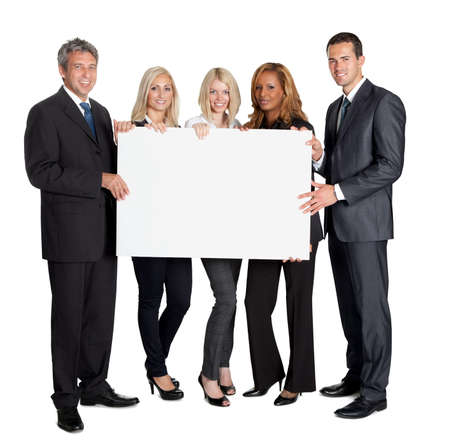 man holding woman: Group of happy business colleagues holding billboard isolated on white background