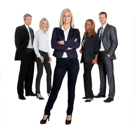 Portrait of positive female leader with her colleagues on white background photo