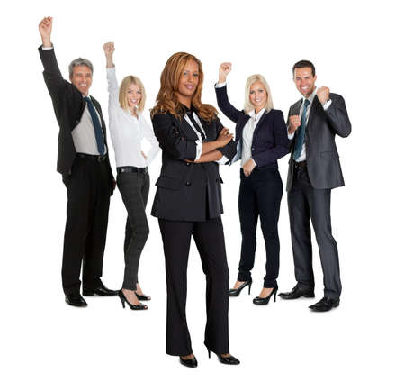 Young female with her business colleagues celebrating success at back on white background photo