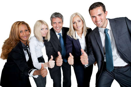 Happy business team celebrating a success with thumbs up on white background photo