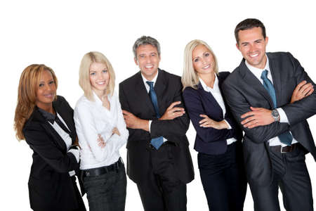 Business people standing with hands folded against white background photo