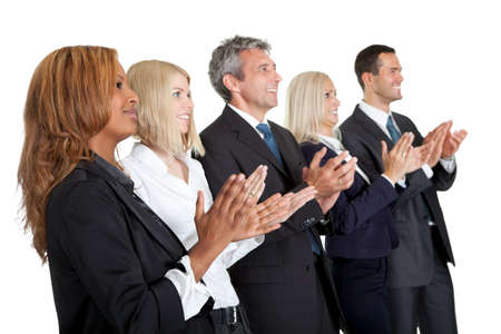Group of business people applauding isolated on white background photo