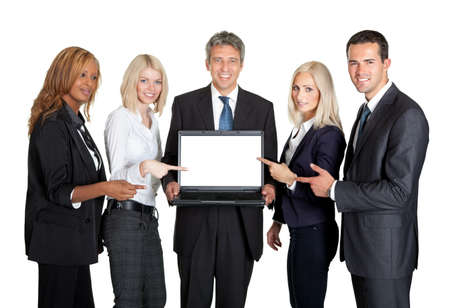 associate: Successful business team displaying a laptop isolated on white background