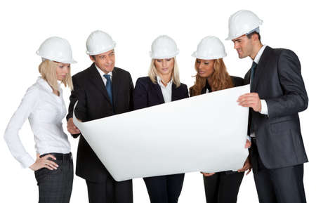 Group of architects discussing blueprint of new construction on white background photo