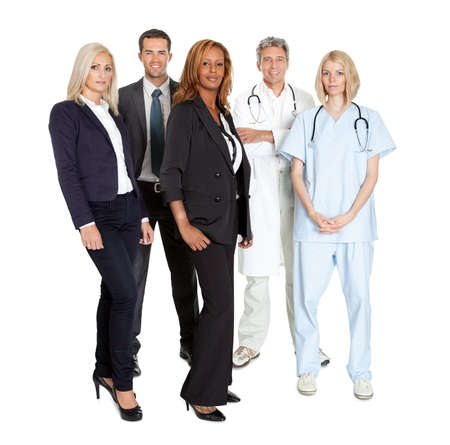 Portrait of a group of confident working people isolated over white background photo