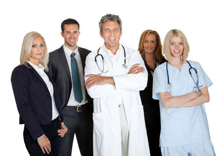 Portrait of a group of medical workers and businesspeople on white background photo
