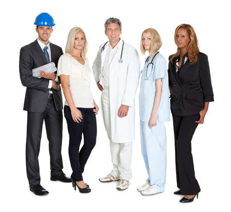 Portrait of happy people of different professions together on white background photo