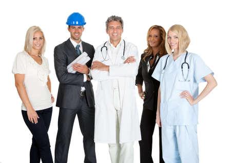 profesiones diferentes: Grupo de personas de diferentes ocupaciones y profesiones sobre fondo blanco Foto de archivo
