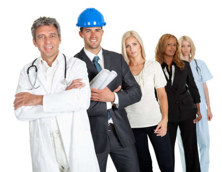 Group of people in different professions standing isolated against white background photo