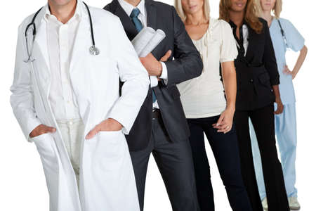 Cropped image of people with different occupations on white background photo