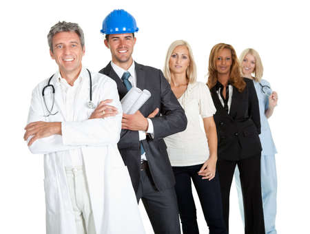 Group of successful working people illustrating different career options on white photo