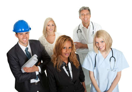 Group of people in different occupations and professions white background photo