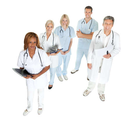 experienced: Top view of doctors and surgeons looking up on white background Stock Photo