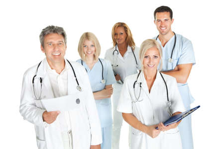Diverse team of doctors and surgeons isolated on white background photo