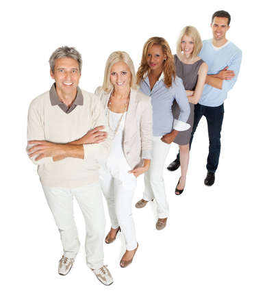 business life line: Portrait of creative business team standing in line on white background