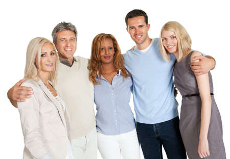 Casual group of friends isolated over white background photo
