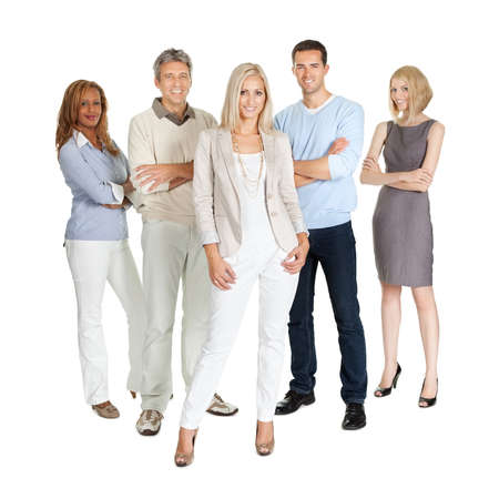Casual group of people standing isolated over white background Banque d'images