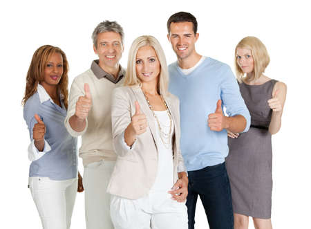 Group of happy business people showing sign of success isolated on white background photo