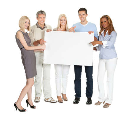 holding blank sign: Portrait of happy businesspeople showing a blank board on white background