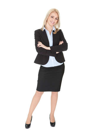 Portrait of beautiful sucessful businesswoman. Isolated on white Imagens