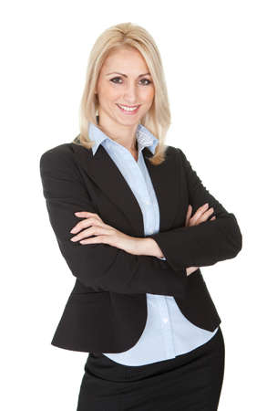 Portrait of beautiful sucessful businesswoman. Isolated on white photo