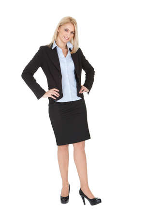 sucessful: Portrait of beautiful sucessful businesswoman. Isolated on white Stock Photo