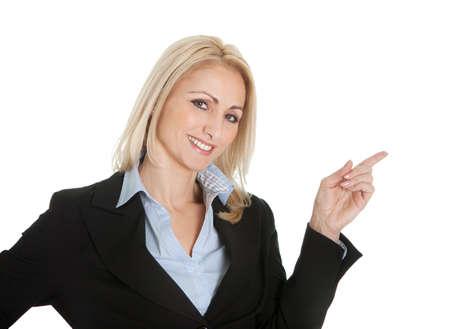 ragazza che indica: Ritratto di bella imprenditrice sucessful. Isolato su bianco Archivio Fotografico