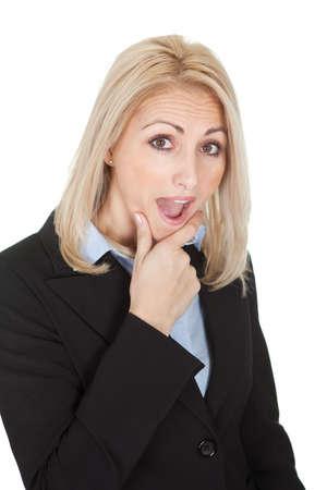Protrait of surprised businesswomen. Isolated on white photo