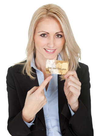 Businesswoman holding credit card. Isolated on white Stock Photo - 12122573