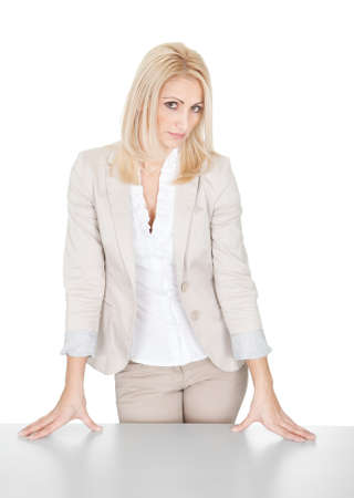 by hand: Portrait of beautiful sucessful businesswoman. Isolated on white Stock Photo