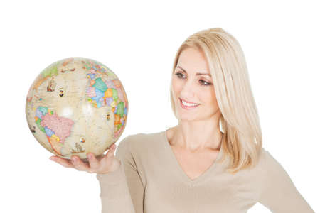 Portrail of beautiful woman holding a globe. Isolated on white photo