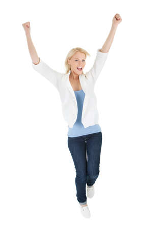 single woman: Portrait of beautiful excited young woman