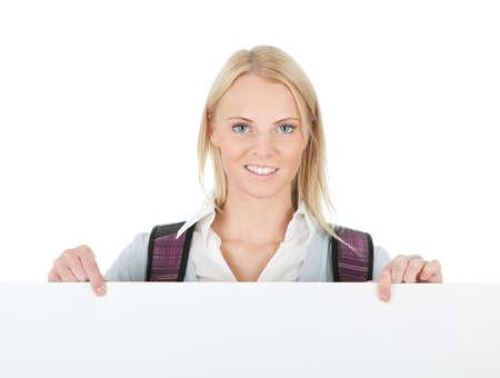 Beautiful student girl presenting empty board Stock Photo - 12475278