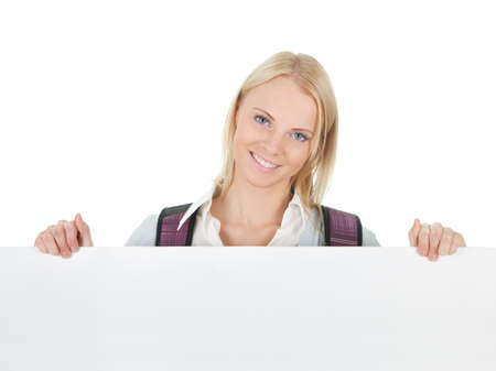 Beautiful student girl presenting empty board Stock Photo - 12475306