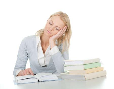 Beautiful student girl tired from doing homework Stock Photo - 12475303