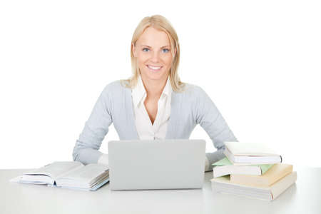Beautiful student girl studying with laptop Stock Photo - 12475308