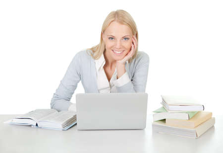 Beautiful student girl studying with laptop Stock Photo - 12475377